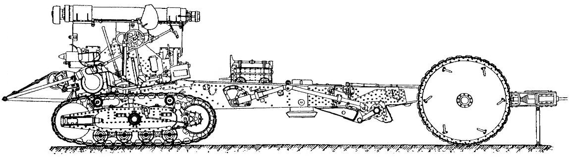 Carriage carriage howitzer B-4, with separate Voske