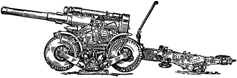 203-мм гаубица Б-4М в боевом положении (без растяжек и бруса)