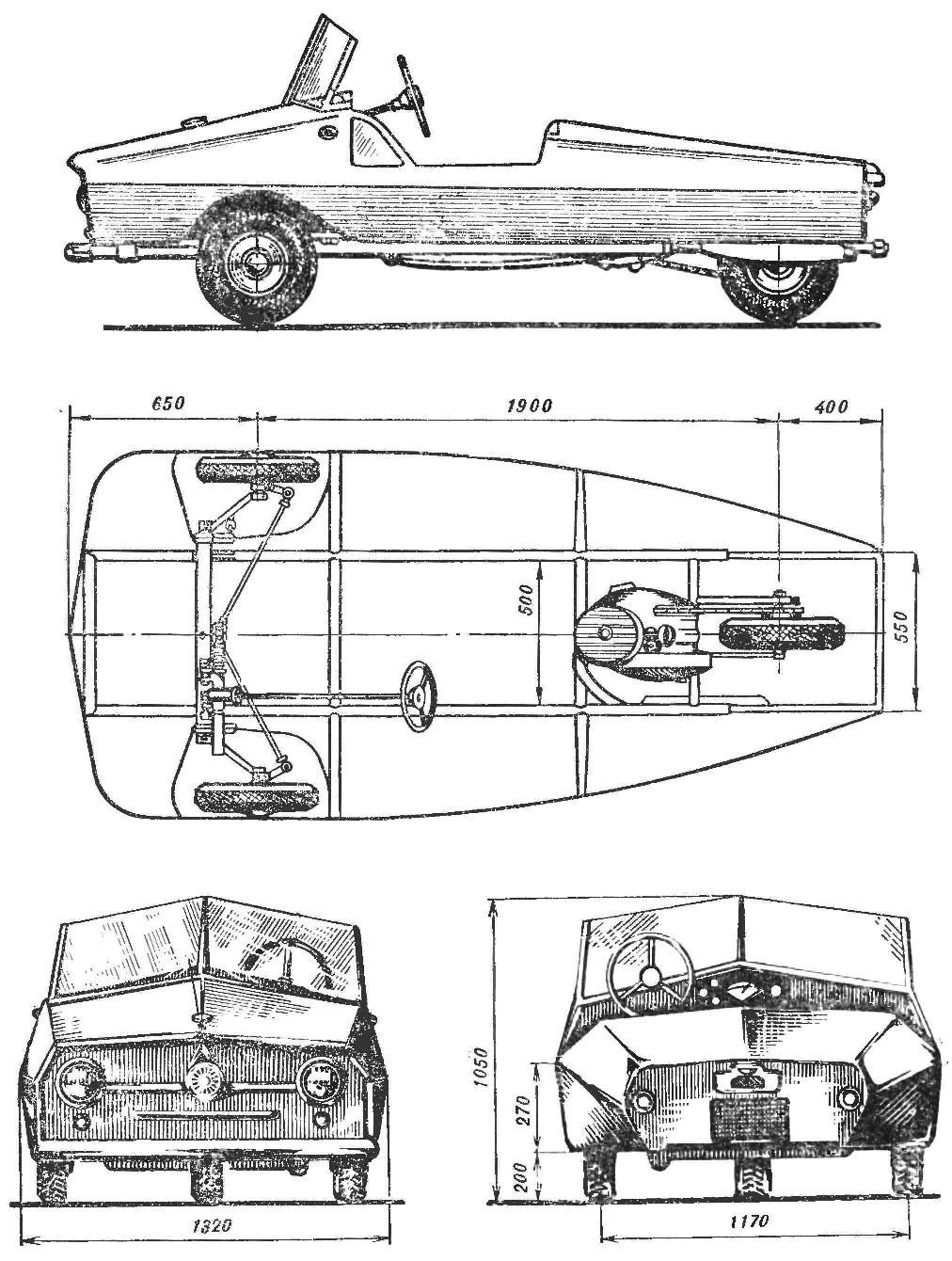 Рис. 1. Схематический чертеж трицикла: вид сбоку, сверху, спереди и сзади.
