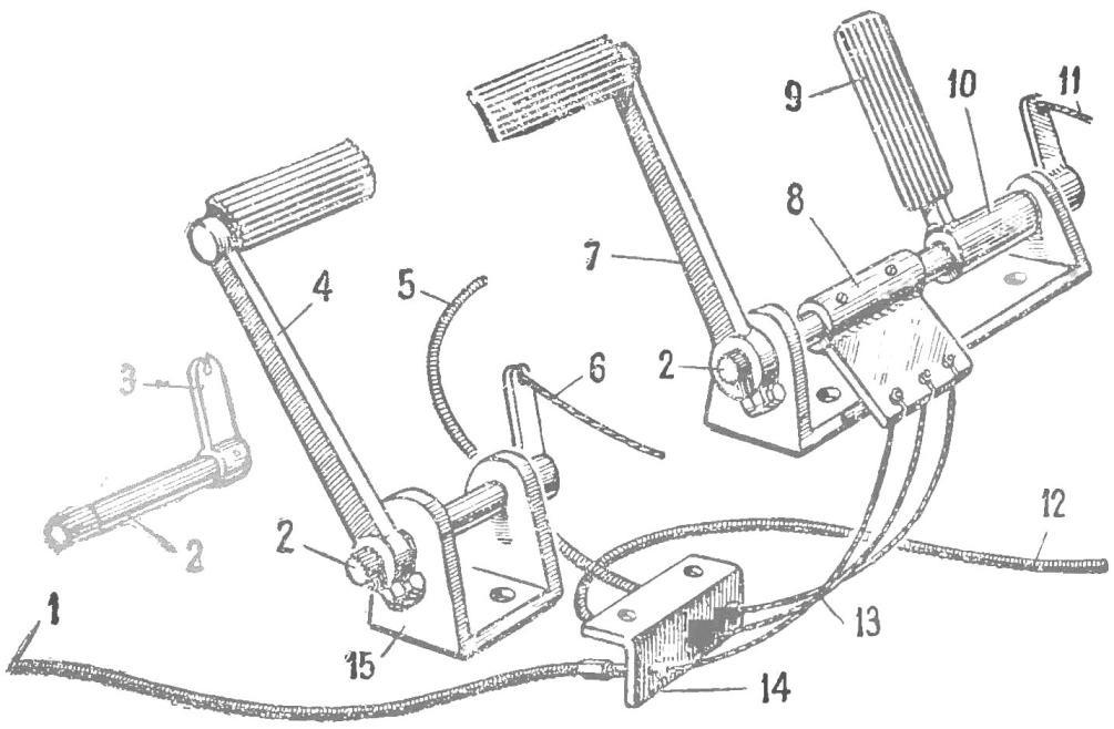 Рис. 3. Конструкция блока педалей