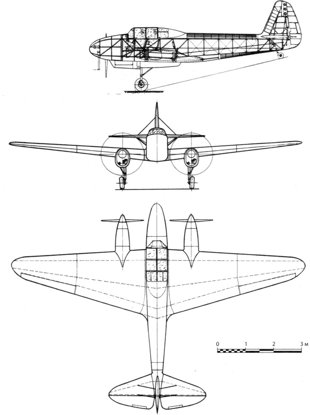 Компоновка двухместного варианта УТ-3 (№ 17а) и общий вид самолёта № 17а с двигателями МВ-6