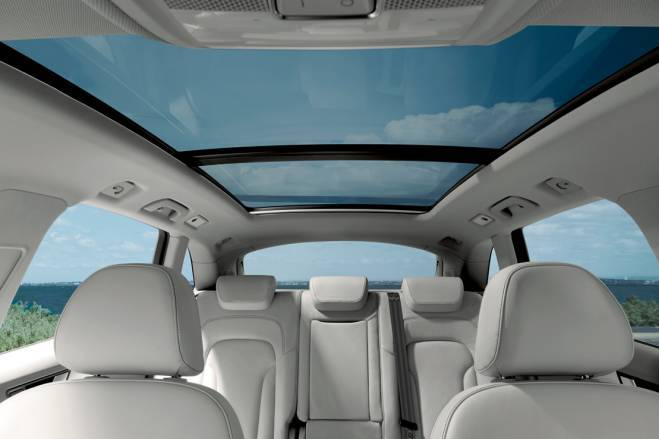 Optionally, buyers may be offered a transparent three-piece panoramic sunroof Open Sky