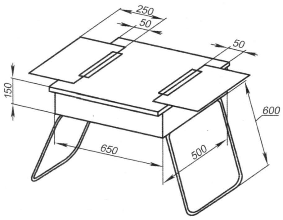 Основные геометрические размеры сундучка-столика