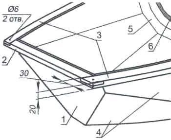 Рис. 9. Носовой транец лодки (4-я секция)