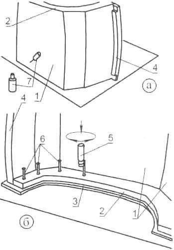 Рис. 10. Выкраивание резиновых прокладок с припусками (а) и отверстий в них иод болты для стыков шпангоугов(б)