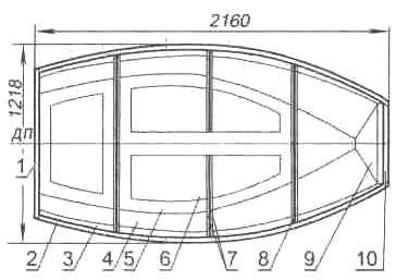 Рис. 11. Корпус секционной сборно-разборной лодки «Джек Пот» (вид сверху)