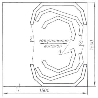 Рис. 2. Рациональный раскрой шпангоутов на листе фанеры