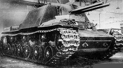 Двухпушечный вариант танка КВ-7. В рубке установлены две 76,2-мм пушки ЗИС-5. Май 1942 г.