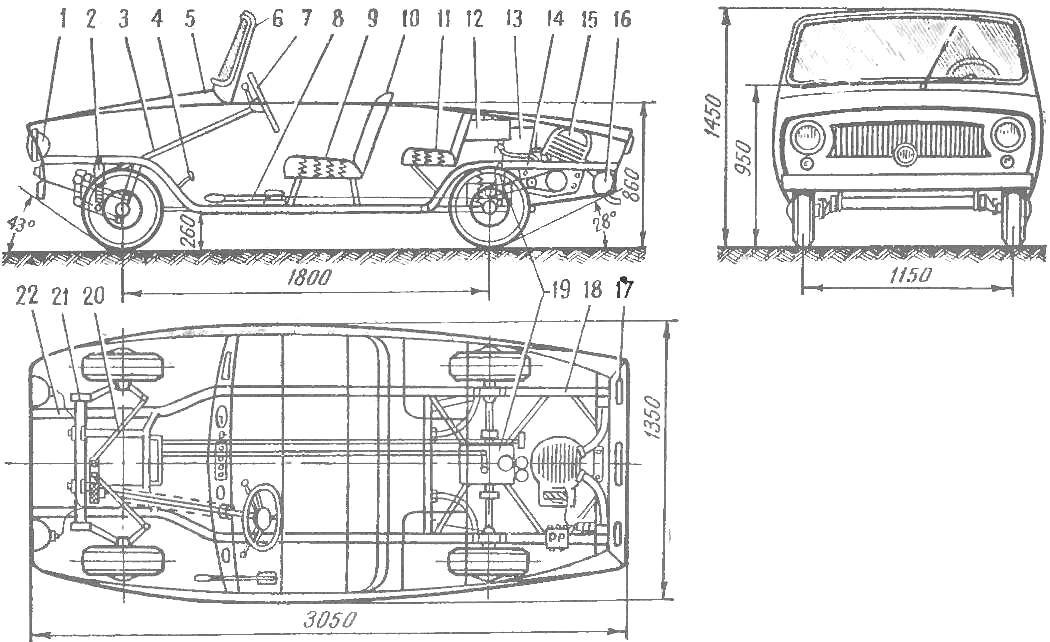 Общий вид и схема автомобиля Малютка»