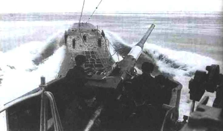 Подводная лодка типа К. Вид с ходового мостика