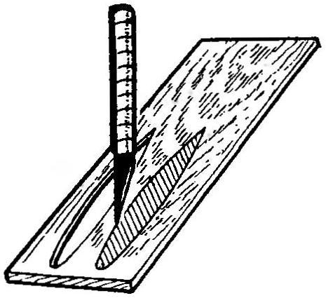 Рис.10. Применение шаблона при вырезании бальзовых нервюр