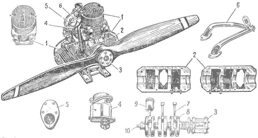 Рис. 1. Общий вид и детали двигателя