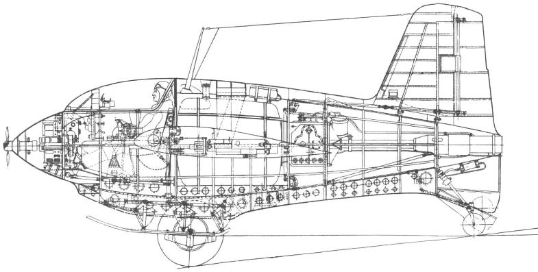 Компоновка фюзеляжа Ме-163В