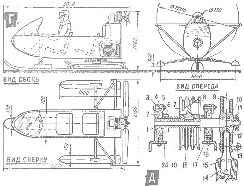 Схема конструкции аэросаней