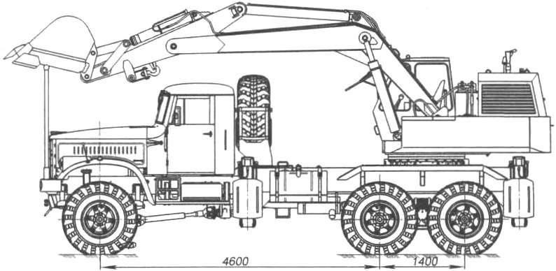 Войсковой экскаватор ЭОВ-4421 на шасси КрАЗ-256Б1