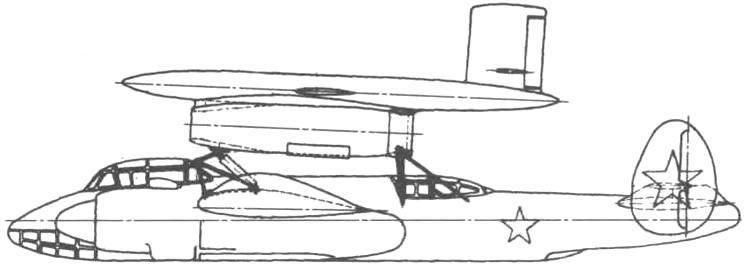 Первоначально для запуска Ла-17 предполагалось использовать поршневой бомбардировщик Ту-2 (вид сбоку)