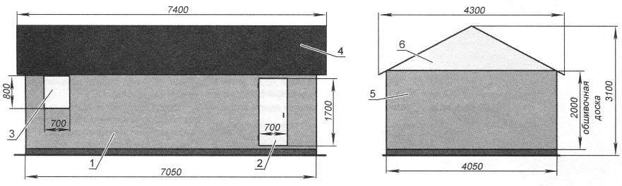 Приусадебный сарай (боковой фасад и разрез)