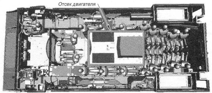 Расположение экипажа (3 человека) и десанта (17 человек) в среднем и кормовом отсеках