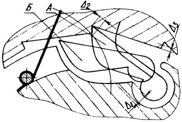 Рис.2. Расположение зон износа элементов механизма