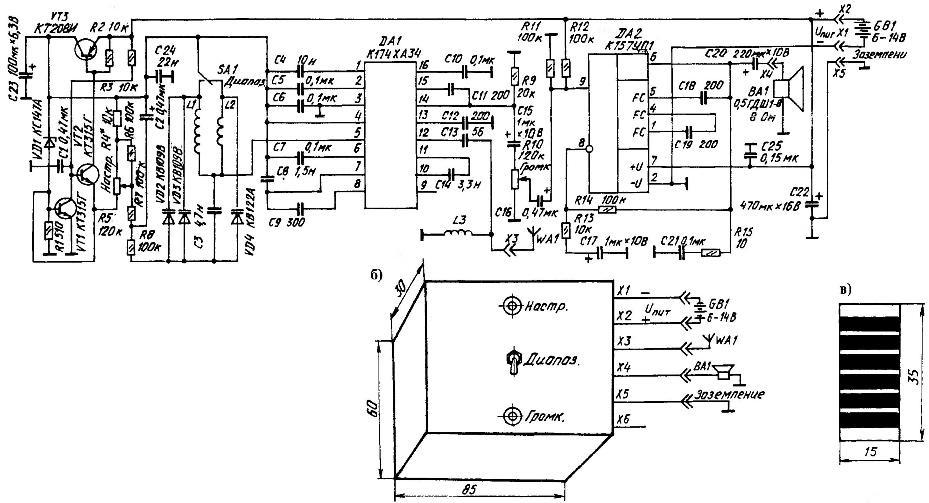 Принципиальная электрическая схема (а) и внешний вид (б) УКВ приемника, а также эскиз самодельной вилки (в) 6-контактного электрорадиоразъема с заземлением, антенной, источником электропитания и динамиком.