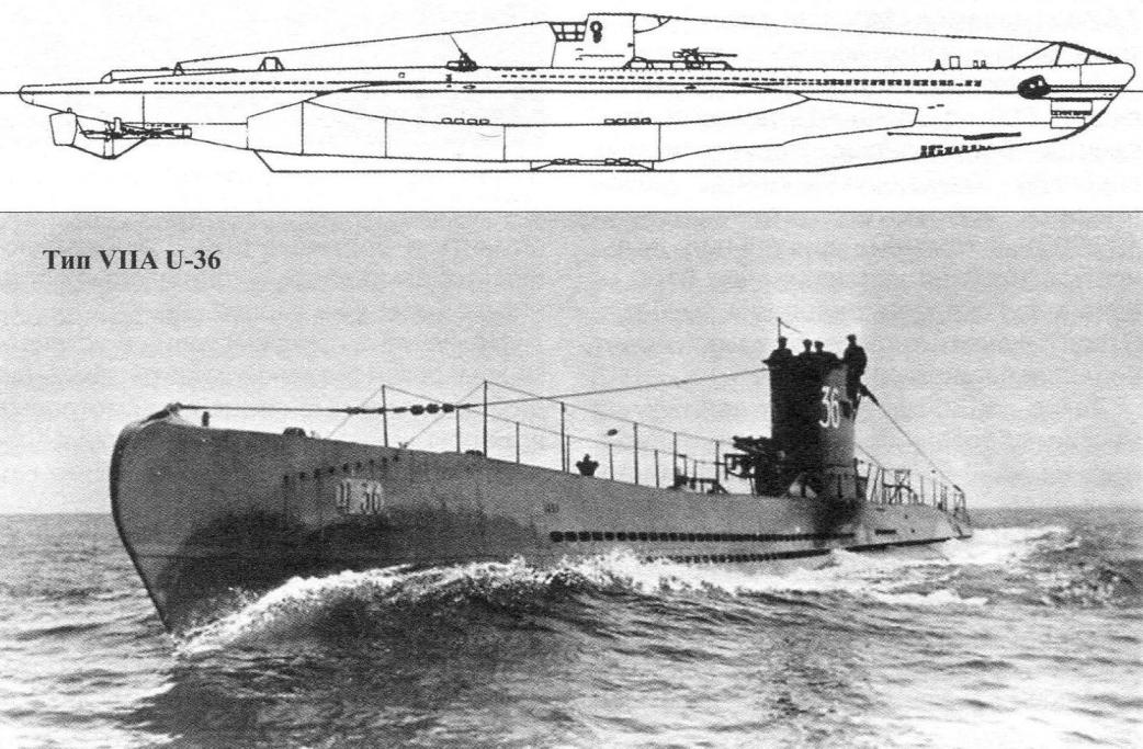 Подводная лодка Тип VIIA, Германия, 1937 г.
