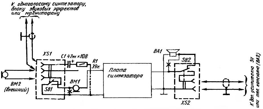 Принципиальная электрическая схема доработок (вводимые изменения выделены утолщенной линией) и музыкальный синтезатор CASIO SK-60 после модернизации.