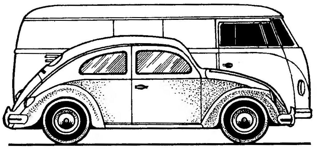 Сравнительные размеры VW «ЖУК» и VW TRANSPORTER.