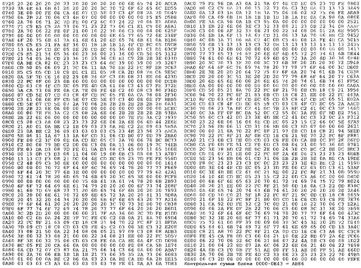 Таблица 1. Машинные коды программы «Нота» для обучения игре на 6-струнной гитаре с помощью ПК «Специалист»