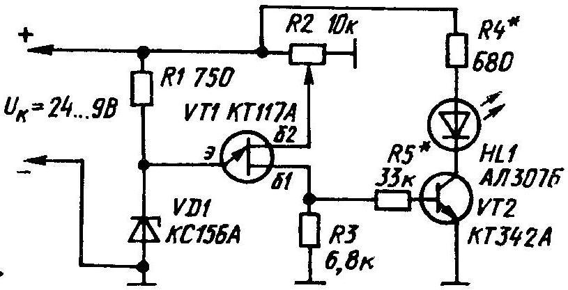 Возможное схемное решение самодельного датчика-сигнализатора разряженности аккумуляторных батарей.