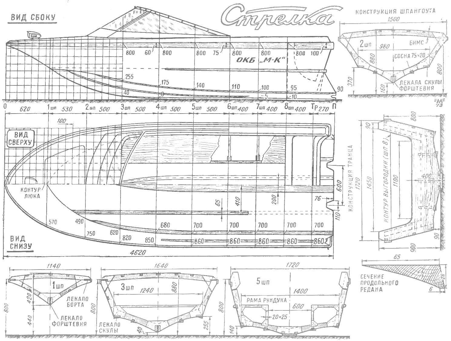 Рис. 4. Конструктивный чертеж мотолодки «Стрелка». Корпус и шпангоуты.