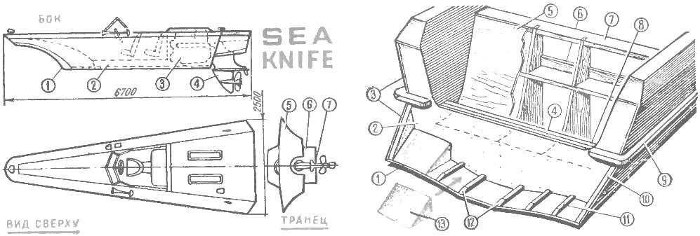 Рис. 1. Катер «Си найф» («Морской нож») Питера Пэйна. Рис. 2. Транцевая часть и подпятник мотолодки «Стрелка»