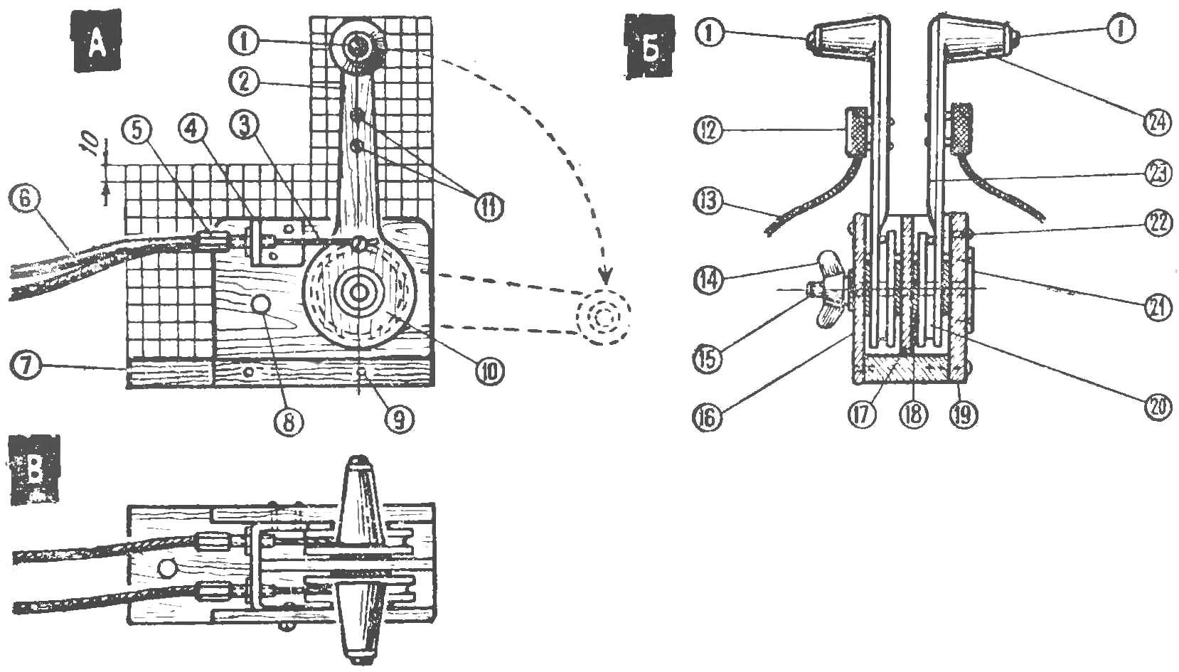 Рис. 5. Блок рычагов управления газом на два мотора (выполнен целиком из дерева)