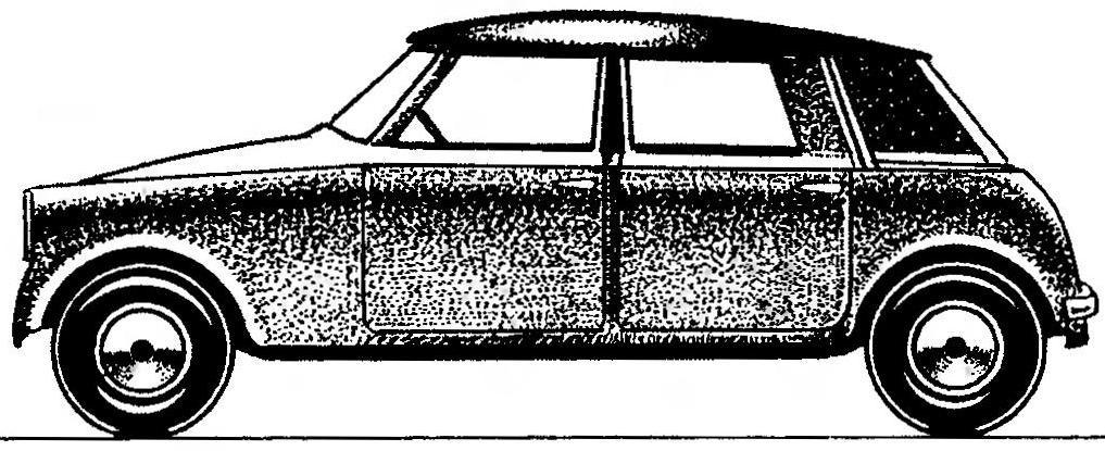 Один из первых эскизов MINI, сделанный Иссигоинсом.