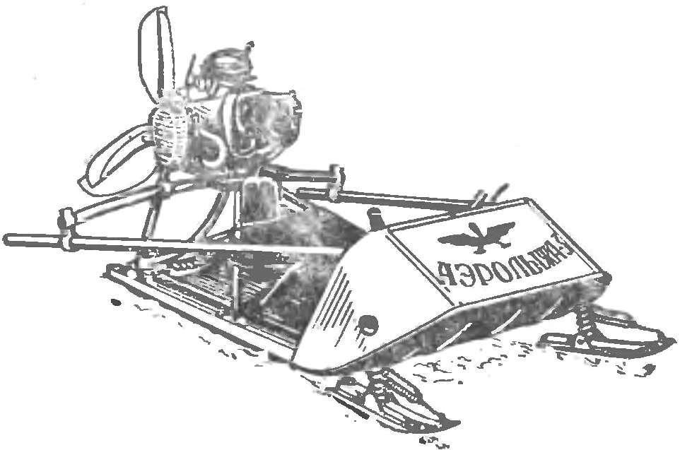 Рис. 10. Аэросани-лыжи конструкции А. М. Заворотного.