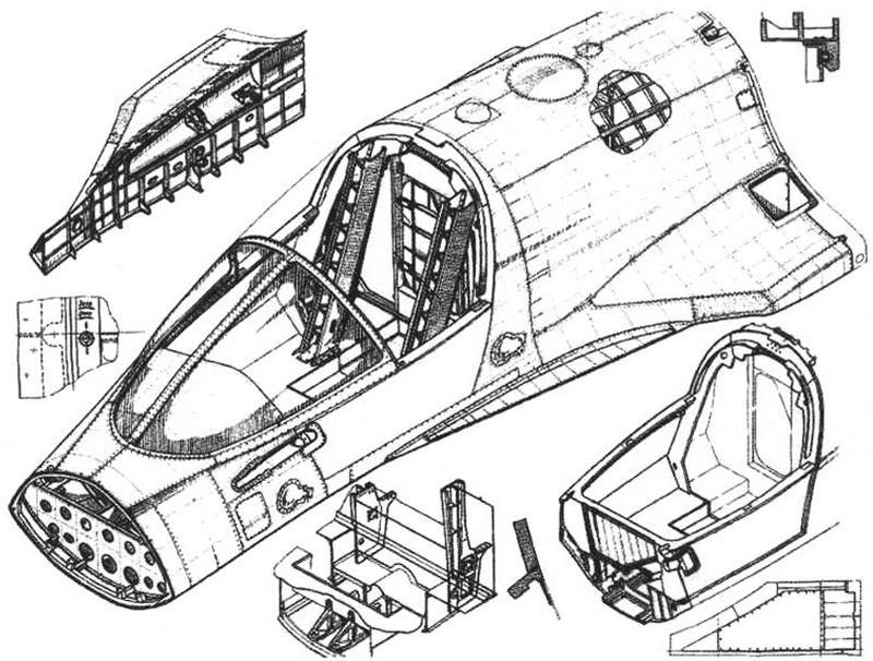 Фрагмент каркаса носовой части самолета с кабиной экипажа