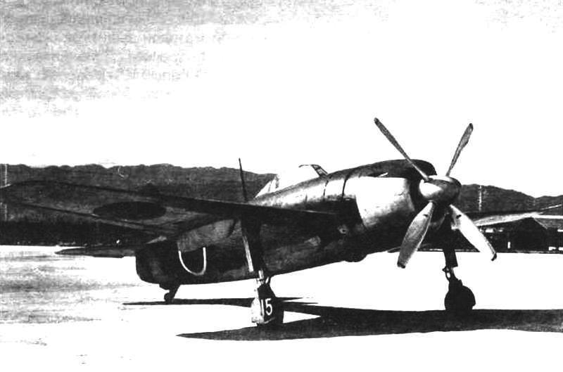 Истребитель-среднеплан N1K1-J после капитуляции. Пушки сняты