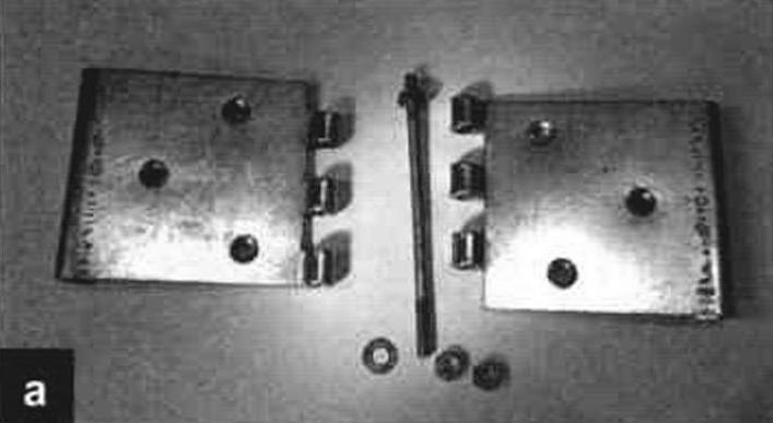 Дверная петля: в разобранном виде с новой осью и контргайками (а) и в собранном виде (б)