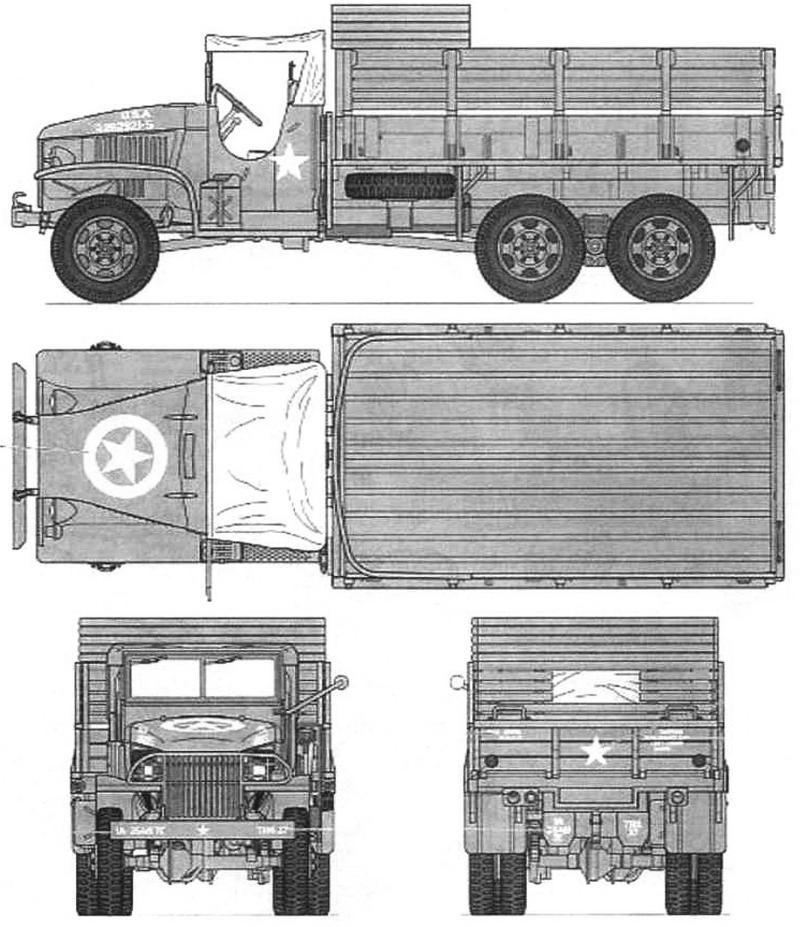 GMC CCKW 353A1 с брезентовым тентом над кабиной