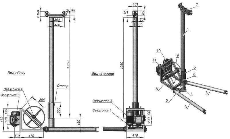 Основные геометрические размеры буровой установки