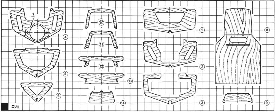 Рис. 3. Выкройки основных деталей модели. Номера деталей соответствуют рисунку 2