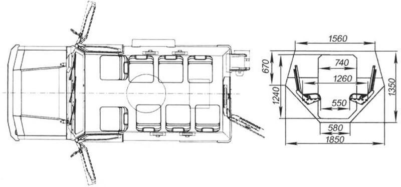 Расположение сидений в корпусе БА
