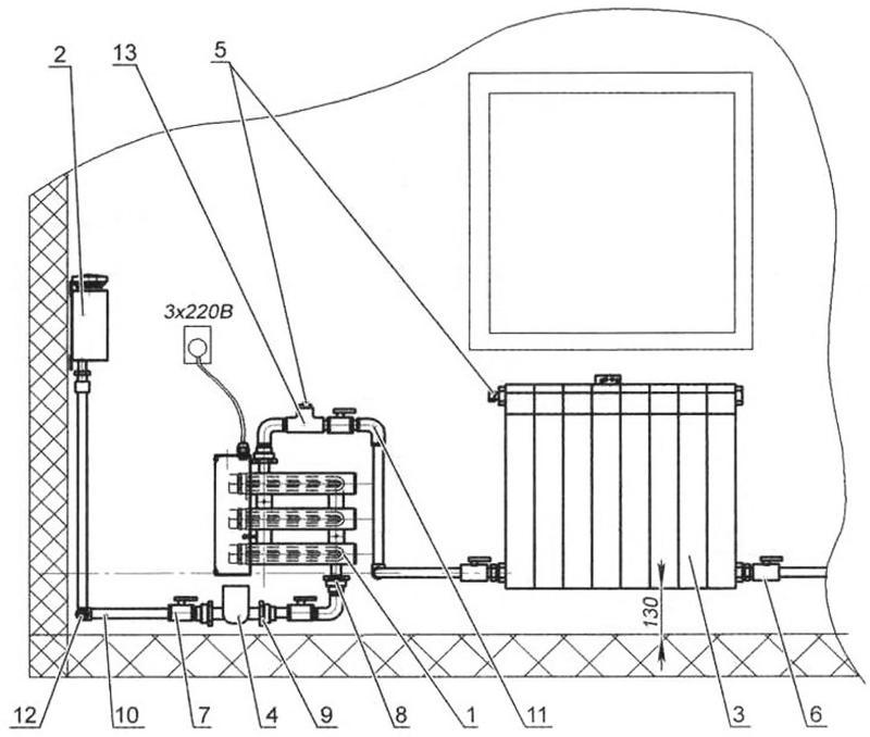 Схема однотрубной жидкостной отопительной системы с тремя автоматическими тепловыми электрическими нагревателями, запиханными от трехфазного источника питания