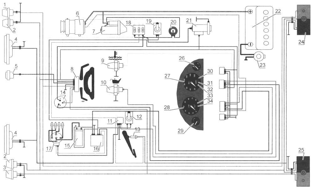 Приборы и электрооборудование багги «Вжик» (принципиальная электрическая схема):