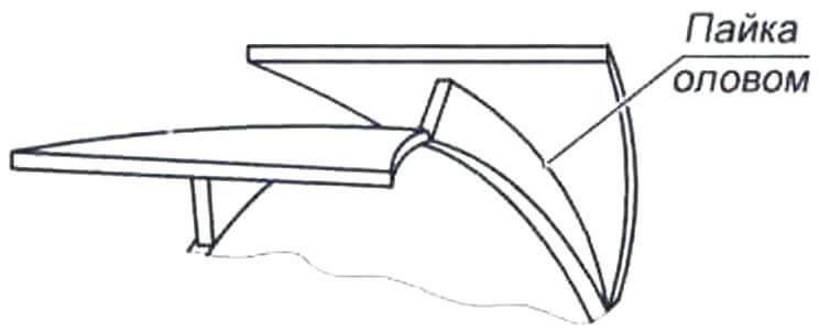 Рис. 6. Пайка лопастей ротора