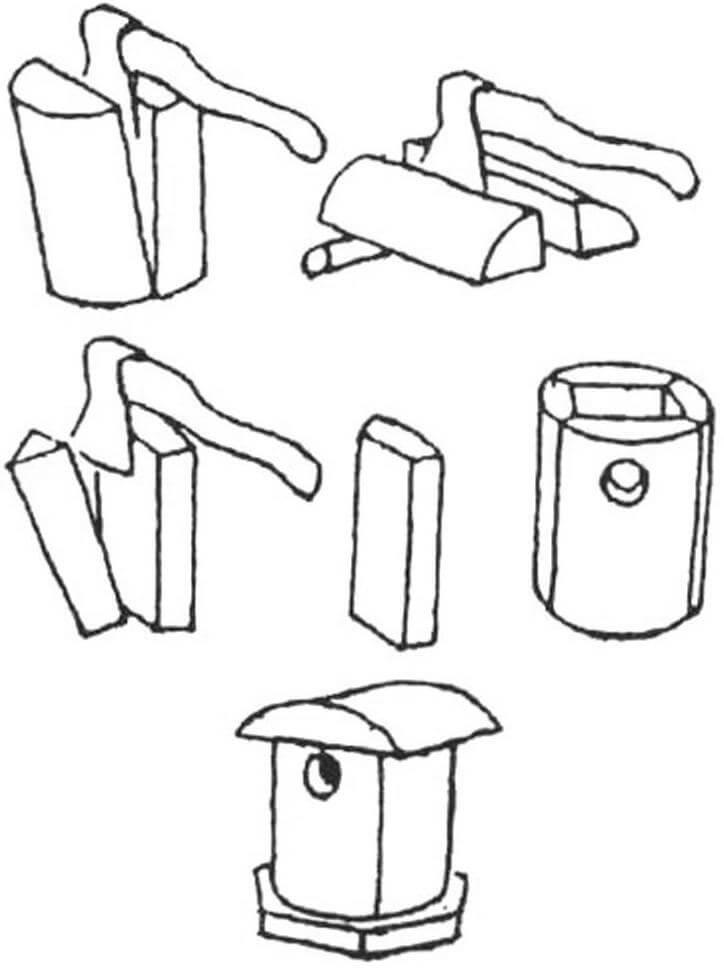 Схема изготовлении дуплянки из полена. Полено раскалывают на четыре равные части, стамеской выбирают сердцевину дерева. Степки складывают и стягивают проволокой или обивают гвоздями. Места стыков прошпатлевывают. Крышу делают из горбыли. Дно - дощатое.