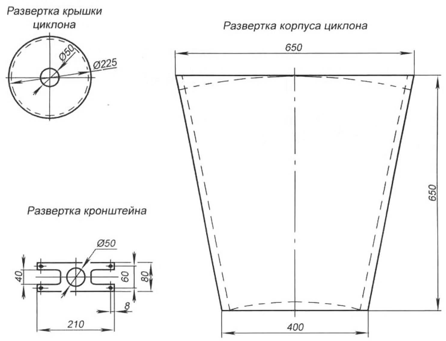 Схема самодельного циклона для отсоса опилок и древесной пыли от ленточной пилы и токарного деревообрабатывающего станка