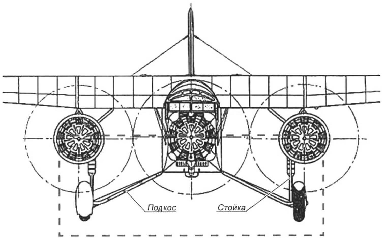 Подкосные опоры шасси самолета очень похожи на стойки скамейки