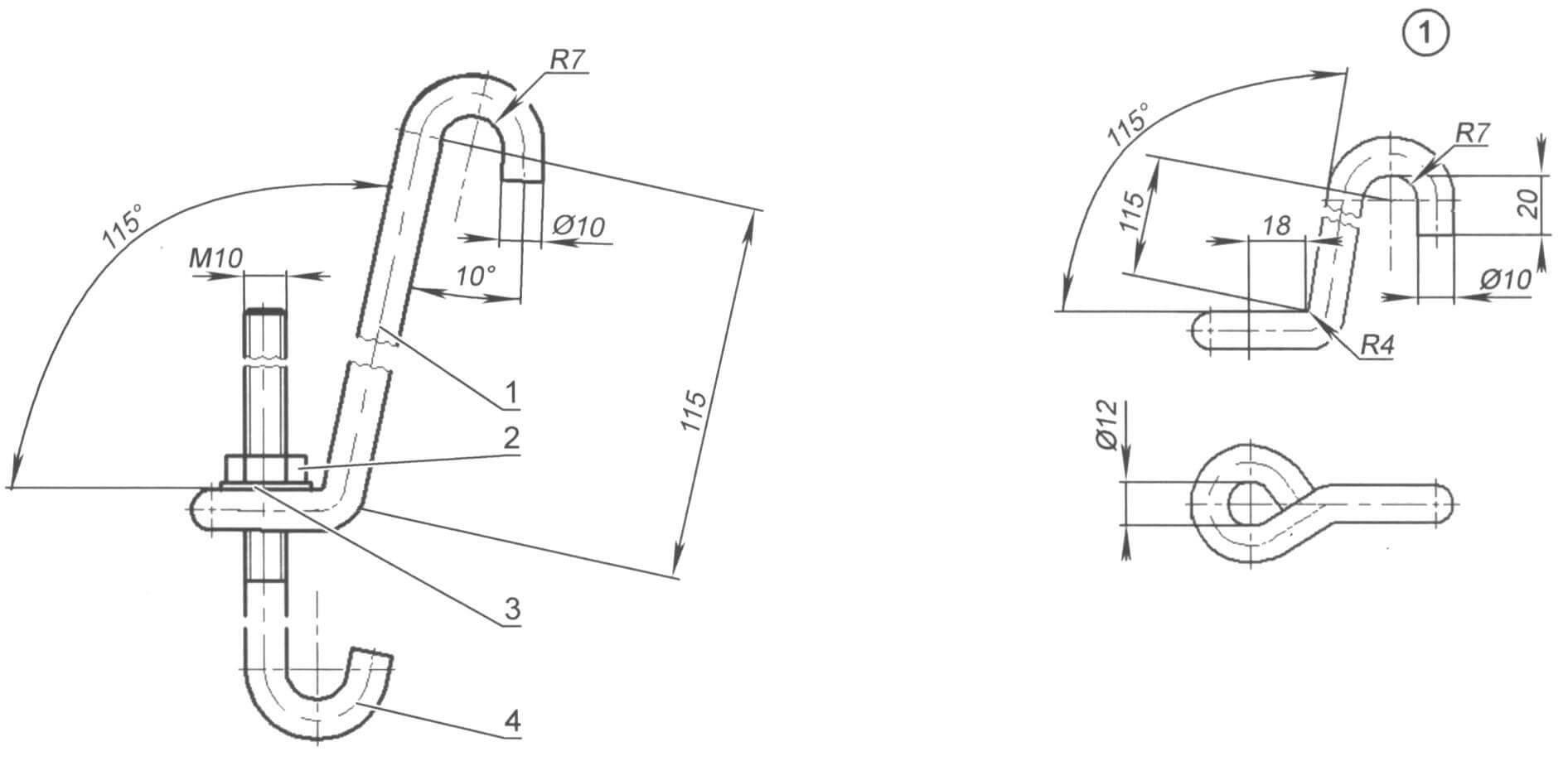 Фото 16. Приспособление № 1 для сжатия пружины подвески в работе Фото 1а. Соединение крючков перед их использованием для сжатия пружины Рис. 1. Приспособление (№ 1) для сжатия пружины передней подвески в сборе (в комплекте 3 единицы)