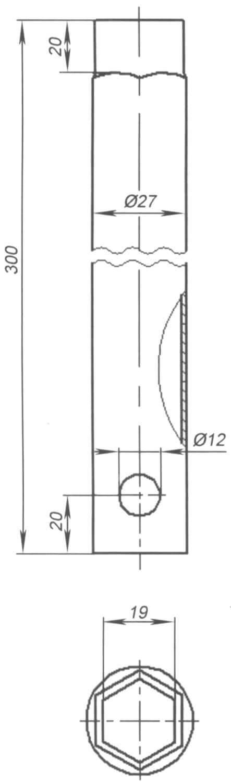 """Рис. 4. Трубчатый удлиненный ключ S19 предназначен для использования с приспособлением № 3. Изготовлен из трубы 3/4""""; один конец трубы обстукан по шестиграннику гайки М12 молотком на наковальне"""