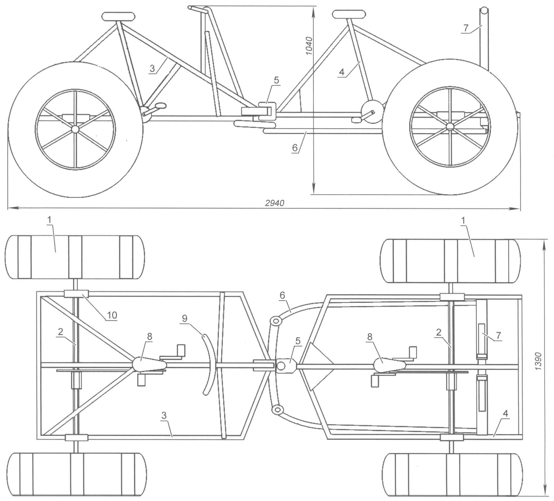 Рис. 1. Двухместный четырехколесный веловездеход на шинах низкого давления